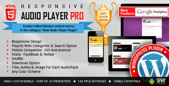 PRO HTML5 Audio Player WordPress Plugin
